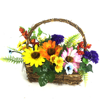 LED Colorful Gerbera Daisy Flower Basket Home Decoration
