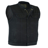 Men's Motorcycle Biker SOA Club Style Black Denim Vest with Inside Gun Pockets