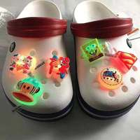 New Design Shiny Croc Shoe Charms LED Light up Charming Fashion Gifts led lights string decoration