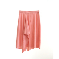 Italy Yarn Knee-Length Natural sweet breathable Women Skirt knit gorgeous Asymmetric design