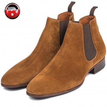 Light Brown Suede Chelsea Boots Men,New