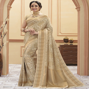 Indian Banarasi Saree in Beige Color