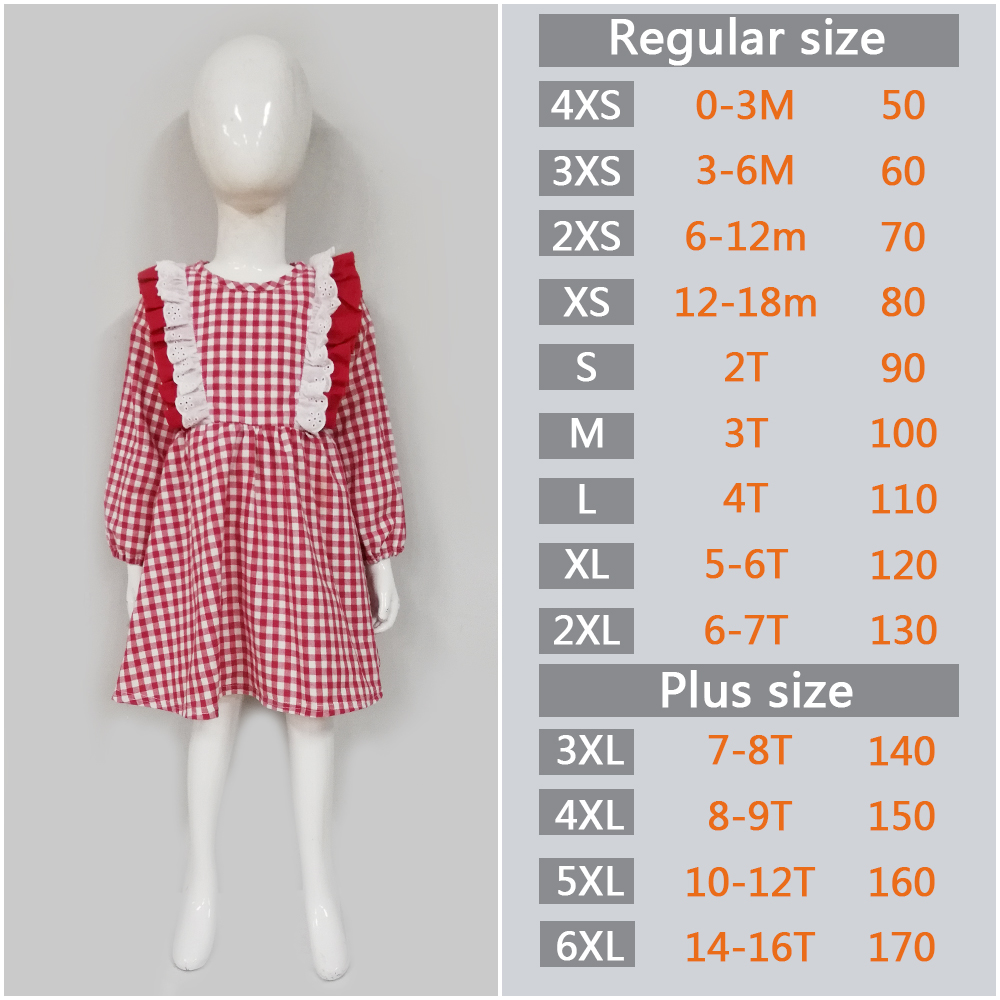 Conice nini hot sale Long sleeve  Red plaid  kid  party Ruffle dress