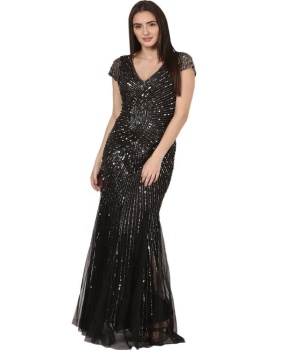 2019 Latest Elegant Black Long Sequins Beaded Party Gown