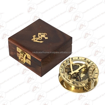 "Brass Round Sundial Compass with Wooden Box - 2.25"" Nautical Sundial Compass with Box - Collectible Gift"