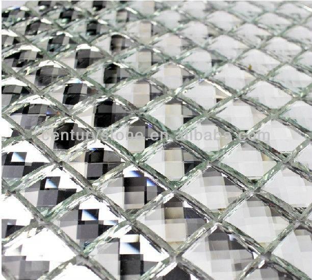 Mosaico de cristal con espejo de diamante de facetas de lujo