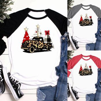 Autumn Happy New Year Blouses Long Sleeve Car Print Shirts BlouseWomen Clothing Casual Merry Christmas Day Tops