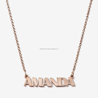 Fine Jewelry 14 Kt Hallmark Real Solid Genuine Rose Gold Custom Name Necklace Personalized Women'S Pendant