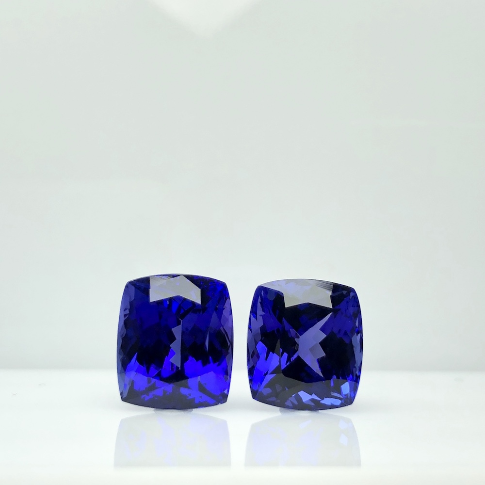 Best Royal Blue Cushion Pair 14 cts Top 100% Natural Tanzanite for Platinum Wedding Earring by TAKAT - Rare & Unique gems