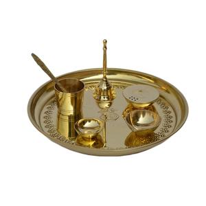 Pooja Thali Pooja Thali Set With Gold Polished Finishing