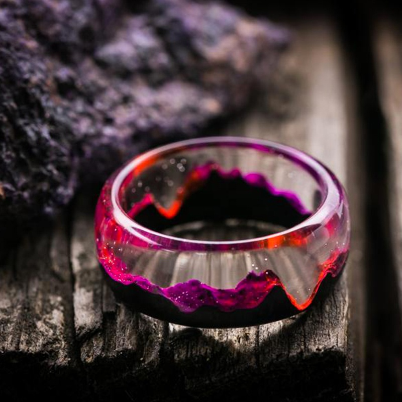 modern ring made with resin wood round ring beautiful resin wood ring for women