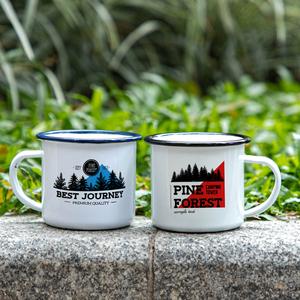 Outdoor Camping Mug Enamel Metal Mug With Custom Logo Sublimation Print