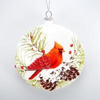 Christmas Decoration Glass Round Disc Ornament