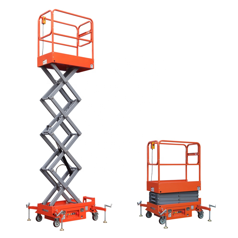 300kg Portable Push Around Battery Powered Electric Mini Scissor Lift
