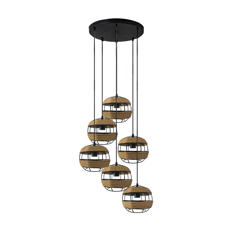 Industrial retro hanging ropes lamp, rope light chandelier, hemp rope ceiling lights for hall