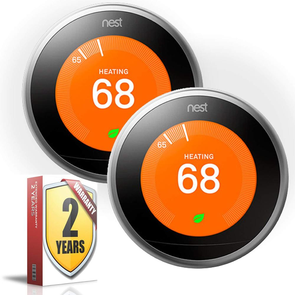 Nest Learning Thermostat (3rd Génération, En Acier Poli Version PRO 2 Pack