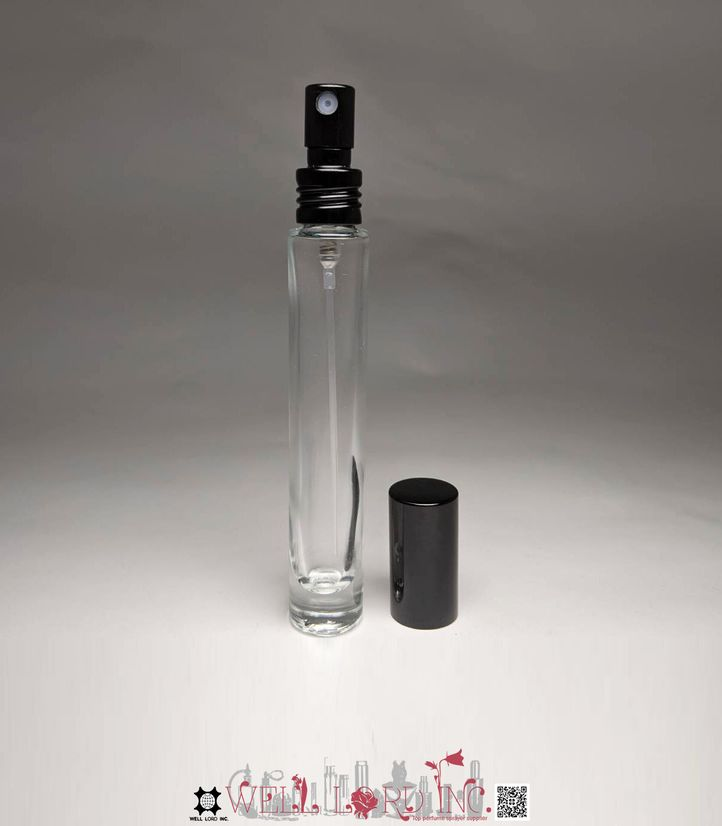 Mini pocket size 10ml fine mist clear glass bottle with black atomizer for frequent traveler